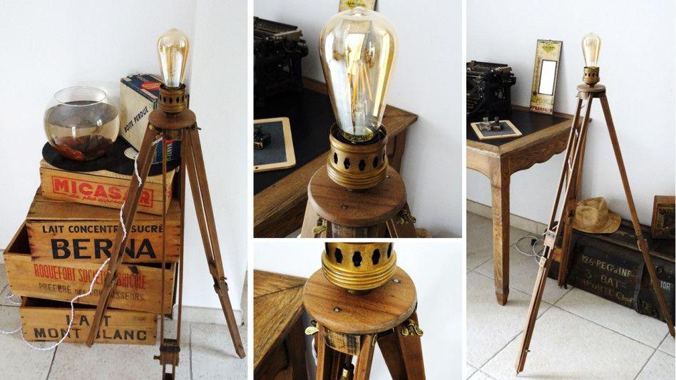 LAMPE TRÉPIED BOIS Une autre «créaspiration» lumineuse… Un ancien trépied de chambre photographique, une douille rétro, un fil tissu, une ampoule à filament…. et ça donne une lamp…