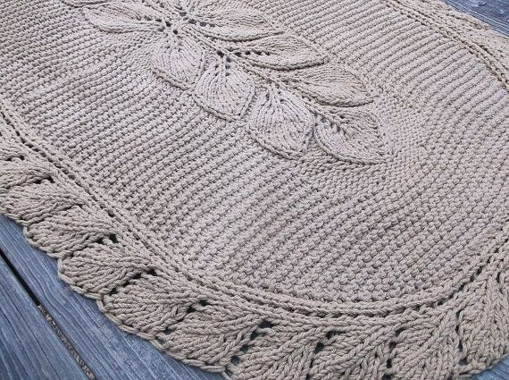 Oval Hand Knit Rug Leaf Pattern 28 x 48 with by ...