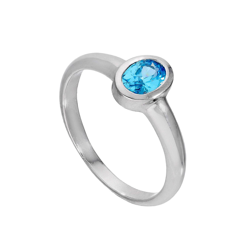 Sterling Silver & Aquamarine CZ Crystal March Birthstone Claddagh Ring I - U dvDxSbZd
