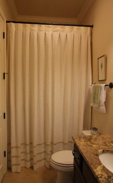 Custom Linen Shower Curtain Box Pleated With Silk Rouched Banding