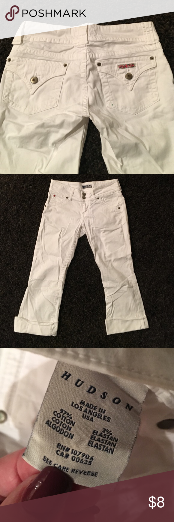Cropped Hudson White Jeans size 26 These were cut off and cuffed for a Capri look.Super cute,one very small stain on the right back pocket.Can see in the first pic otherwise flawless. Hudson Jeans Jeans Ankle & Cropped