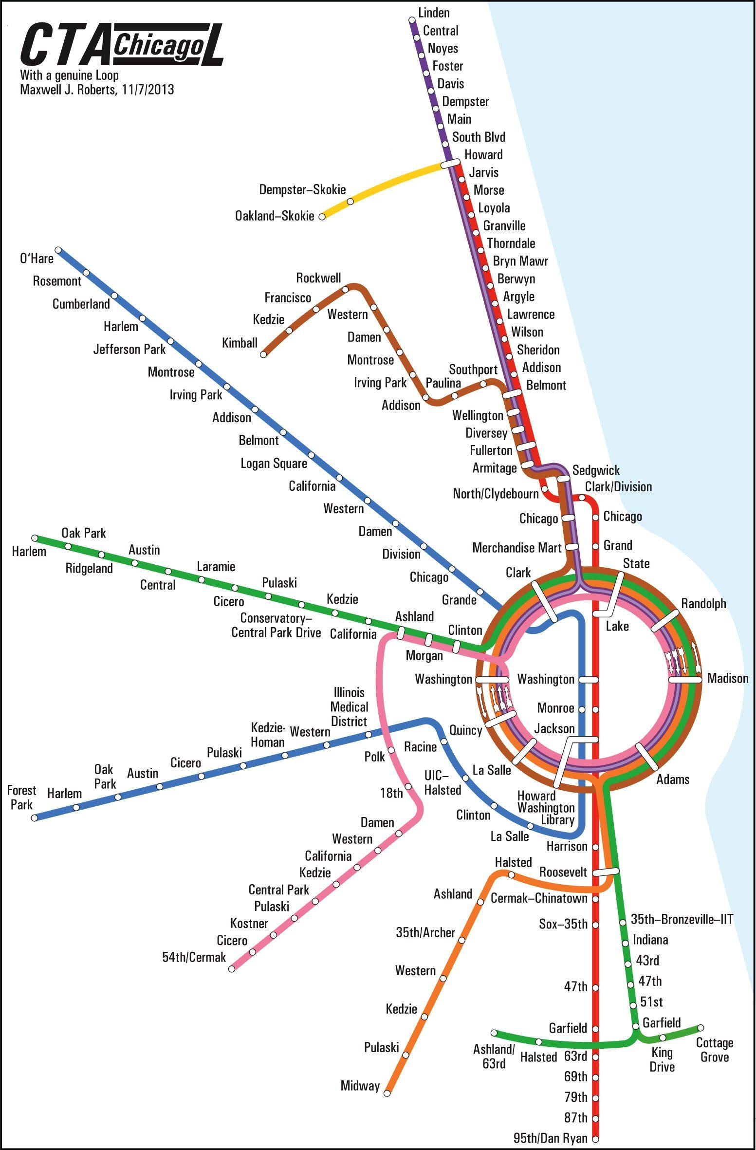 Subway Map Chicao.Chicago Circular Subway Map By Max Roberts Maps Chicago Map