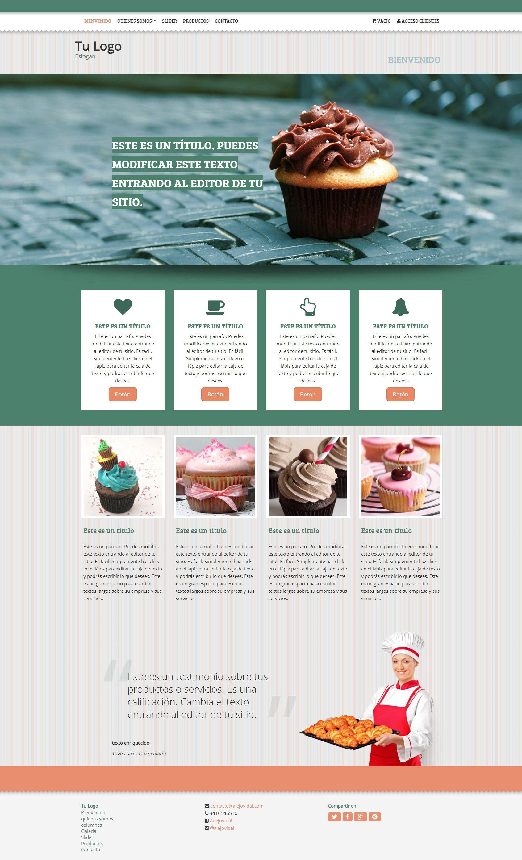 Plantilla Cupcakes | Nubix : Crea tu pagina web en minutos ...