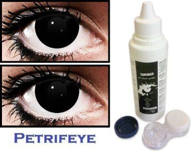Black Fancy Dress Non Prescription (2 lenses in pack) Fashion Halloween  Contact Lenses By Petrifeye Eyes With Free 120ml Solution And Pumpkin  Soaking Case  ... b986c9781094