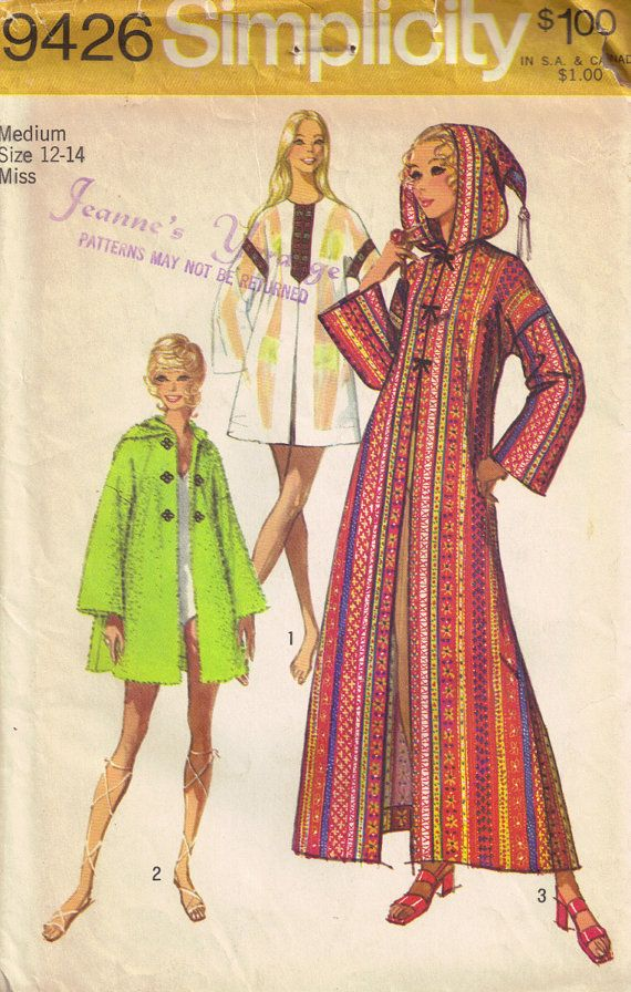 Vintage 70s Pixie Hooded Caftan Tent Dress Sewing Pattern Simplicity ...