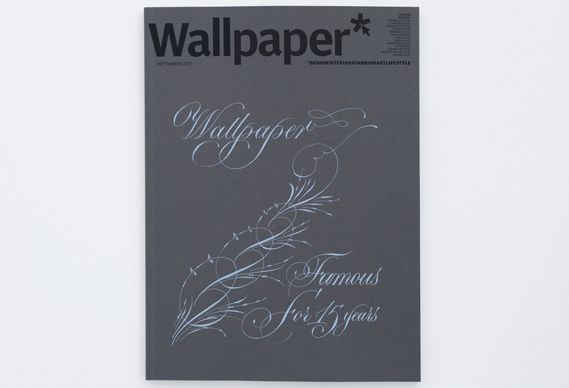 """One of Wallpaper's 15 15th anniversary covers, printed on different Colorplan stocks to demonstrate how choice of paper is """"an integral part of the design process"""". Hoping to get my mitts on this edition by London calligrapher Paul Antonio (hat-tip to @Creative Review)"""
