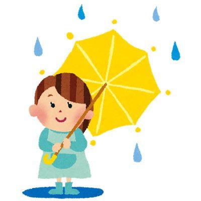 雨の中で傘をさした女の子を描いたかわいいイラスト 青と黄色の色使いが綺麗 かわいいイラスト イラスト 傘イラスト