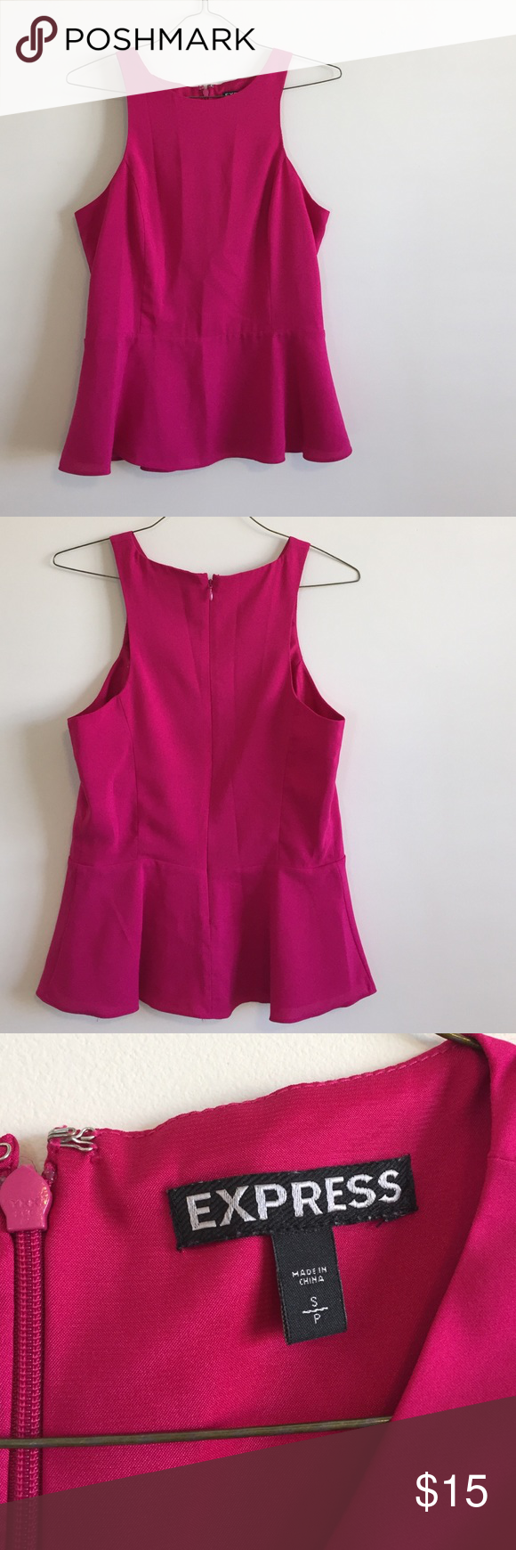 Express Hot Pink Tank Perfect for work, fun hot pink peplum top Express Tops Tank Tops