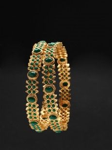 golden precious base embellished stone with bangles jewelry semi bangle green