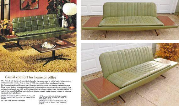 1965, Homecrest, Platform Sofa, Mid Century Modern, Mad Men Style, Sofa,  Built In End Tables, Retro, Mod, Avocado Green, Vinyl, Brown