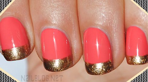 Coral and gold nails ..... It's all about those little details