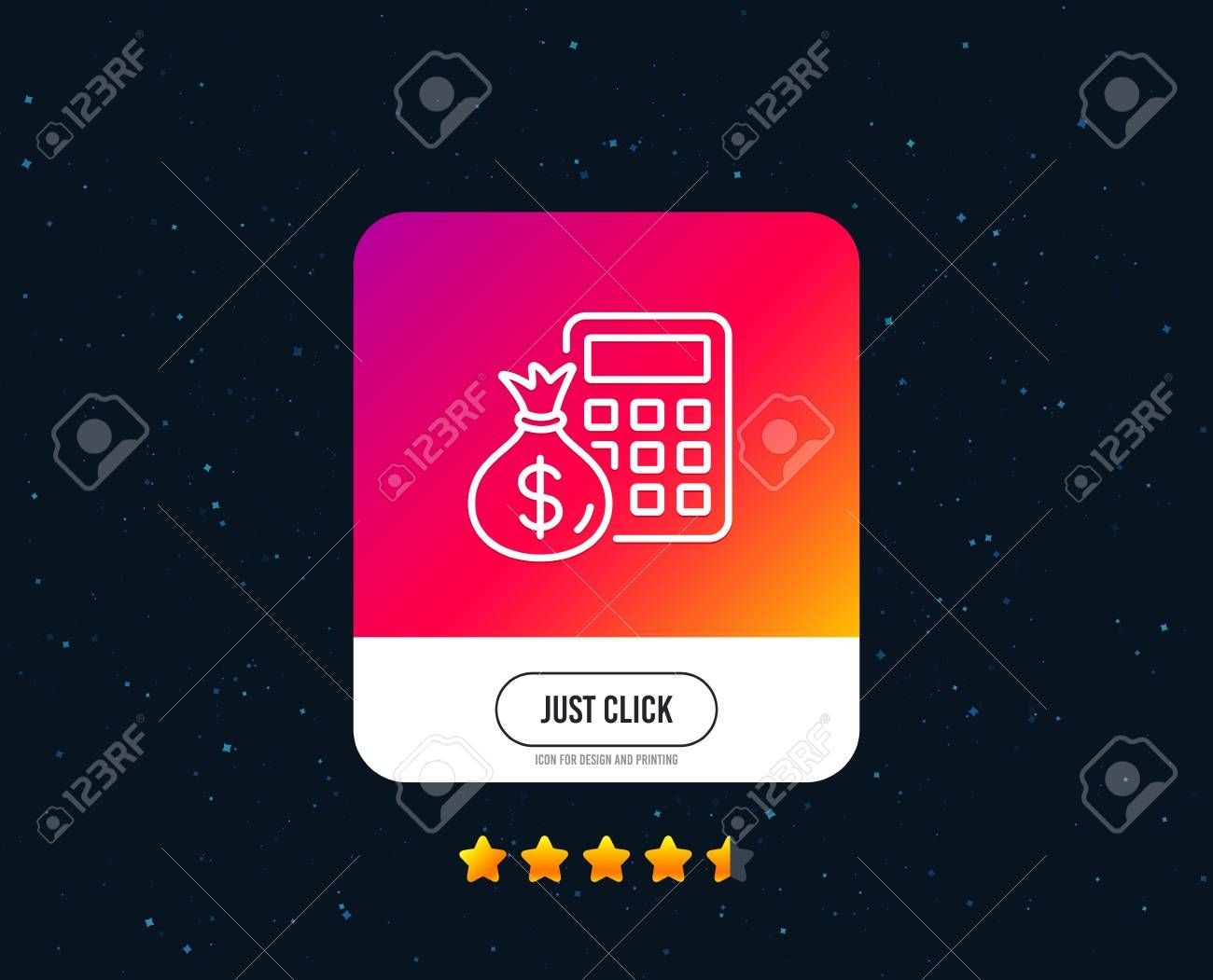 Calculator With Money Bag Line Icon