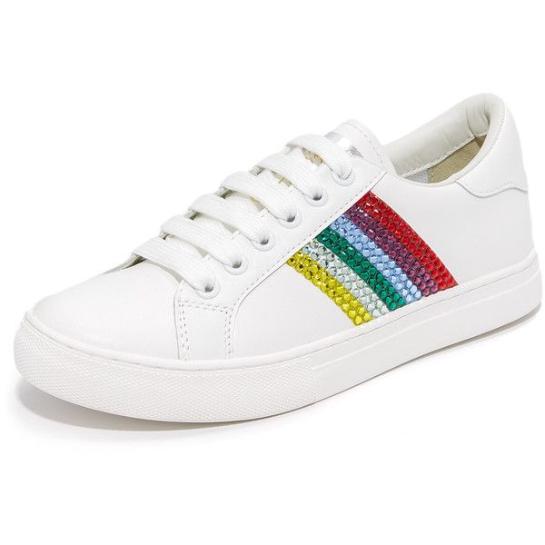 Marc Jacobs Empire Strass Lace Up Sneakers ( 295) ❤ liked on Polyvore  featuring shoes, sneakers, leather lace up shoes, laced shoes, striped  sneakers, ... d6c78c810462