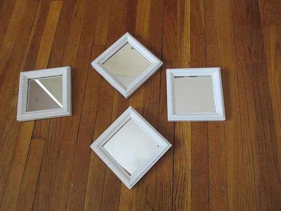 Upcycled Mirrors Set of 4 Vintage 5 Inch Square Wood Frames | Mirror ...