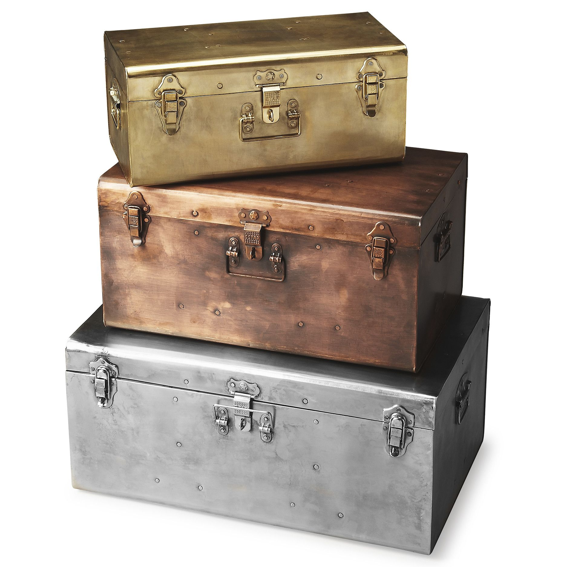 Industrial Modern Storage Trunk Set of 3  sc 1 st  Pinterest & Industrial Modern Storage Trunk Set of 3 | Decor | Pinterest ...