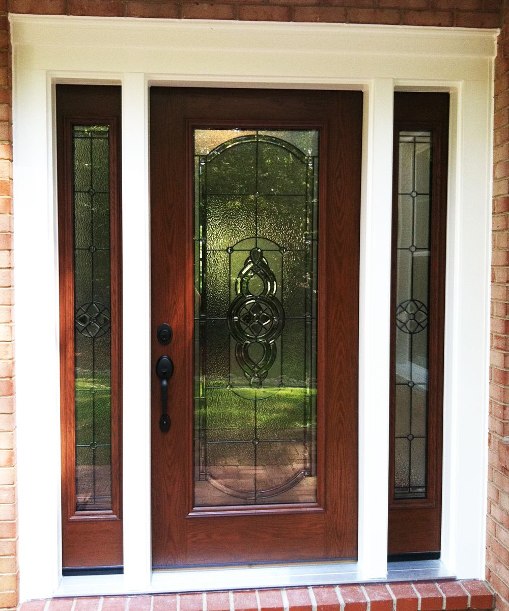 Custom provia front entry door with sidelights and full for Front door and sidelights