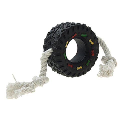 Squeaky Tyre Shaped Rope Tug Toy For Dogs And Puppies By Como