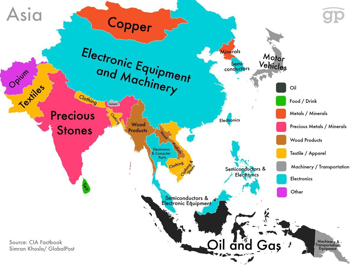 These maps show every countrys most valuable exports geography maps show countries highest valued exports from cia factbook data gumiabroncs Gallery