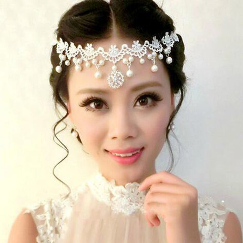 Lace Hair Jewelry Pearls Bohemian Queen Crystal Head Chain Headpiece