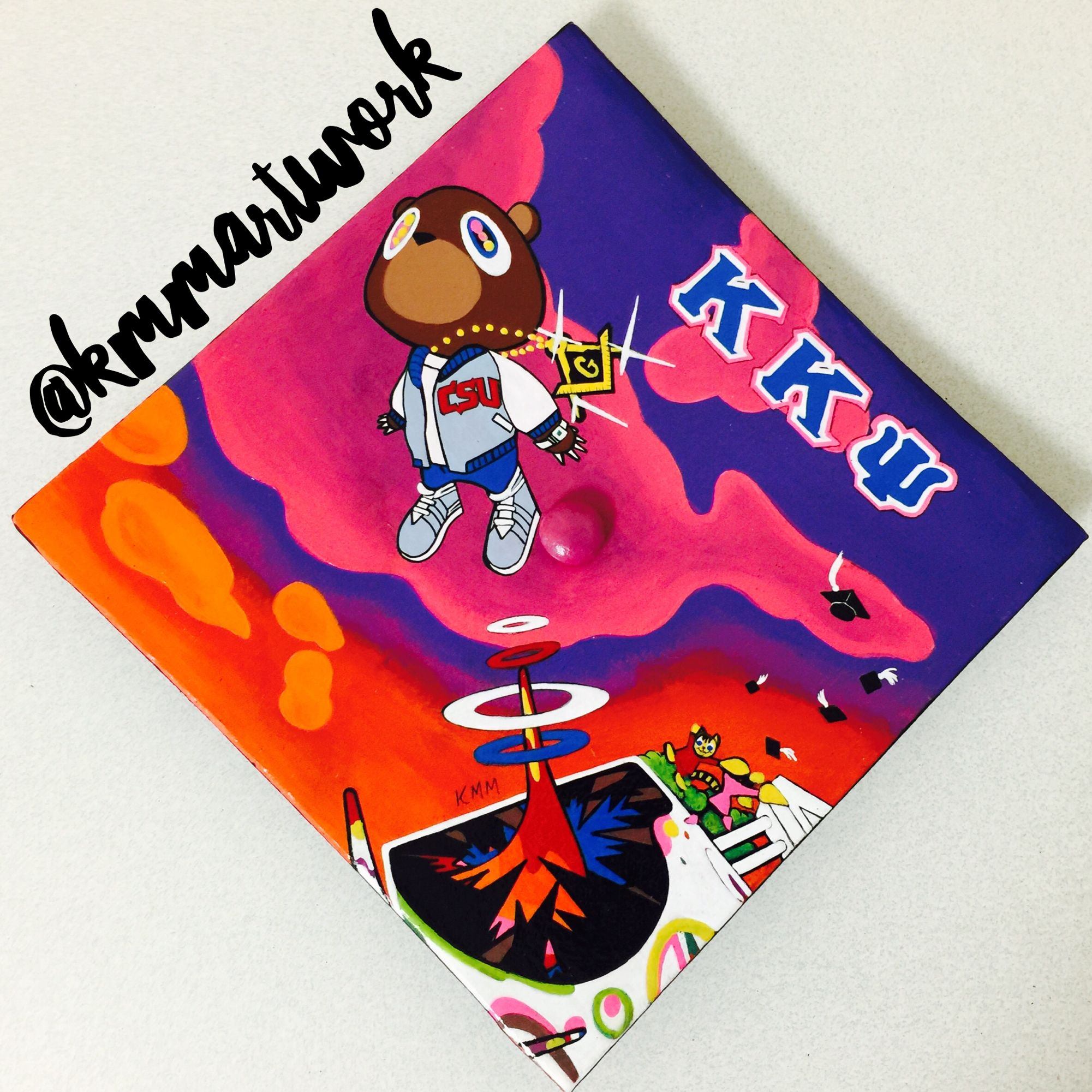 Kanye West Graduation Album Cover Graduation Cap Hand Painted Kmm Artwork Kappa Kappa P Graduation Cap Decoration Graduation Cap Designs Graduation Album