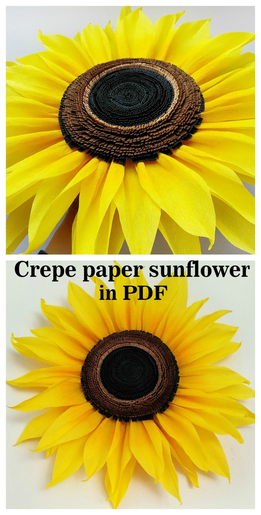 Crepe paper sunflower tutorial in PDF #crepepaperroses