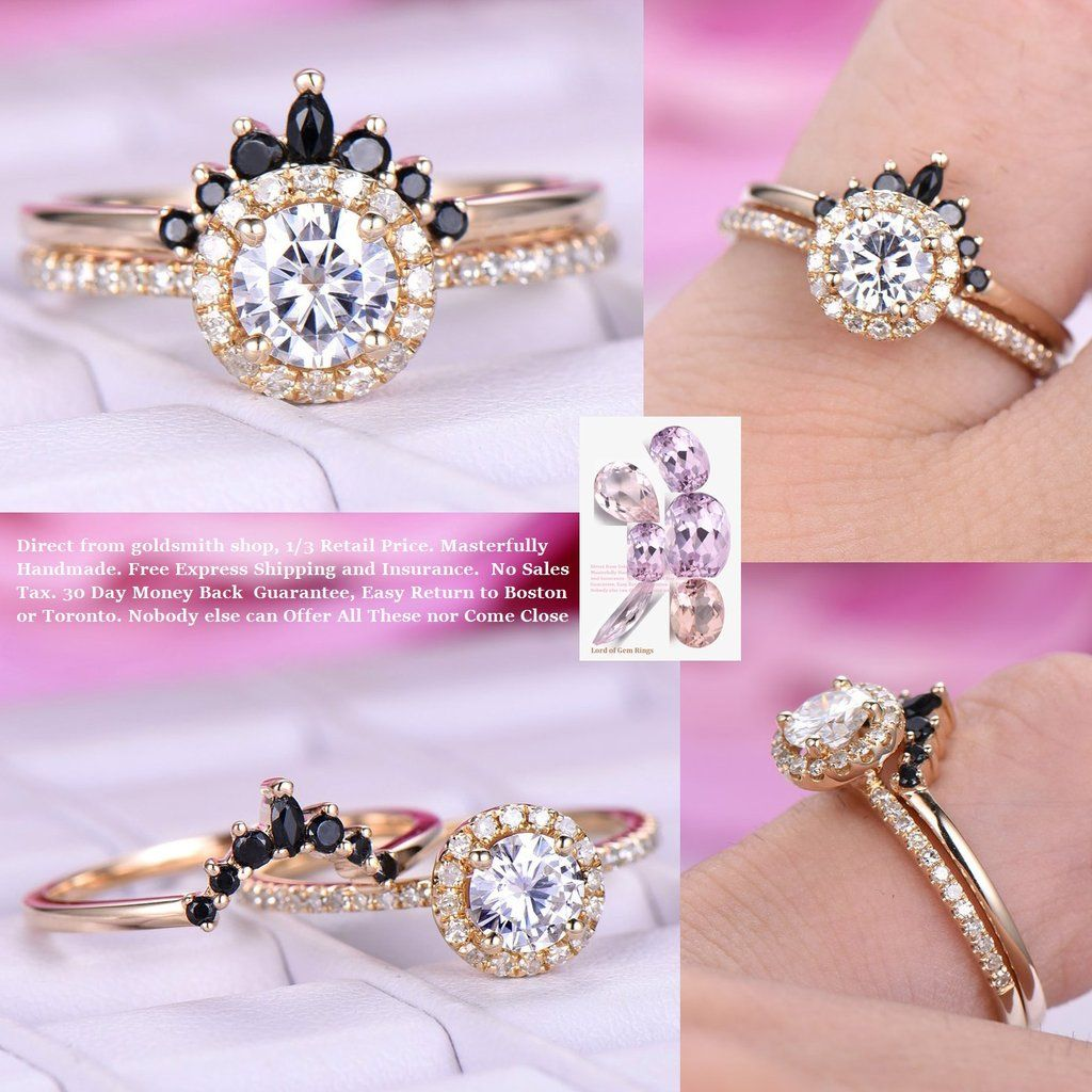 Round Moissanite Engagement Ring Sets Black Onyx Tiara Ring 14k ...