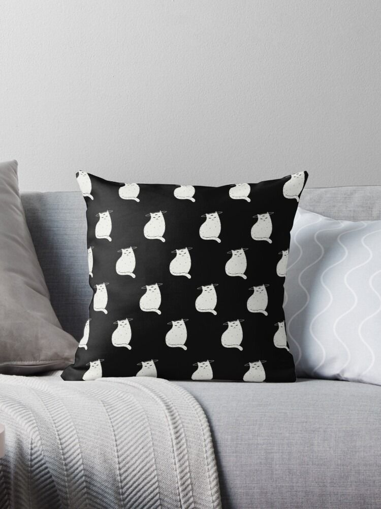 Throw Pillow Three Eye Cat with halo in black and white pattern