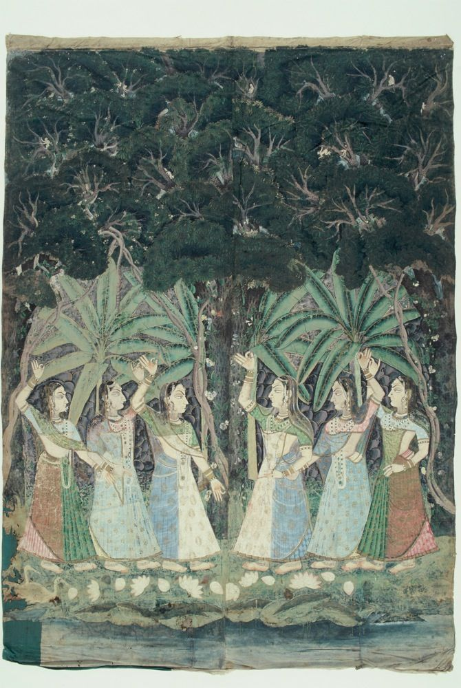 Pichhvai depicting a dense forest scene, #gopi's looking for #Krishna #miniaturepainting