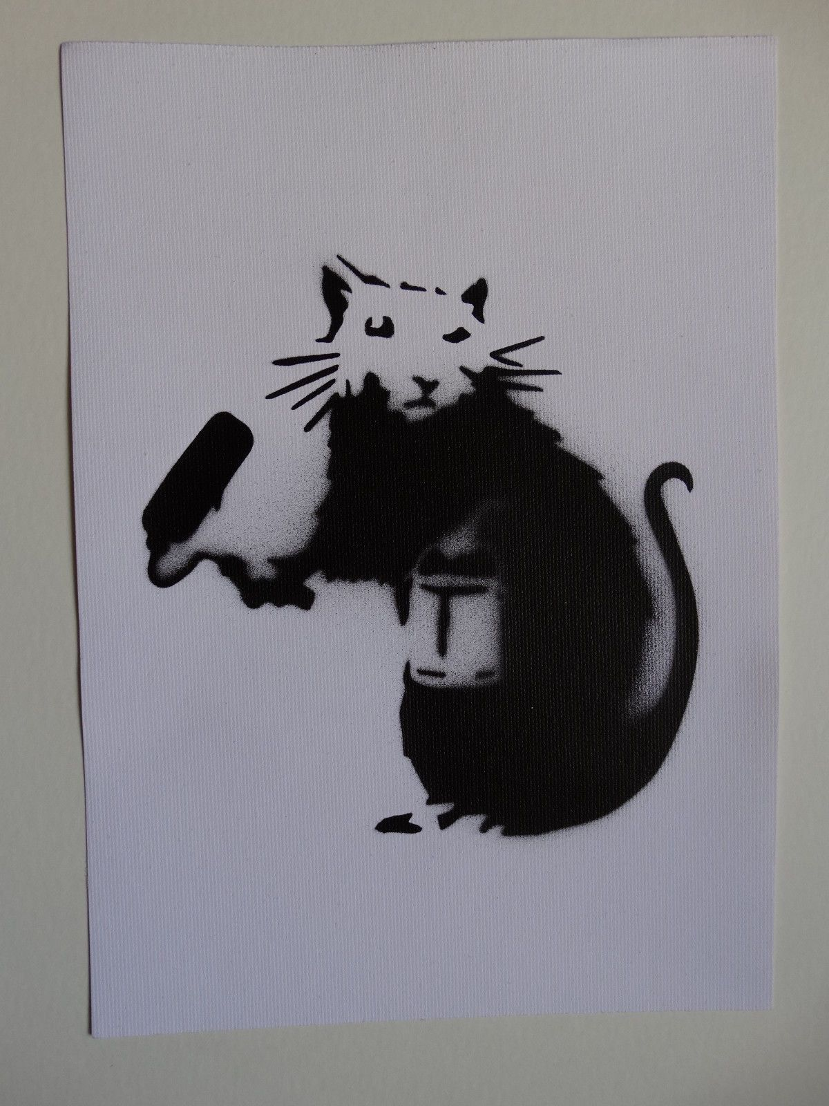 Banksy Rat Spray Paint Stencil On Canvas Original Dismaland