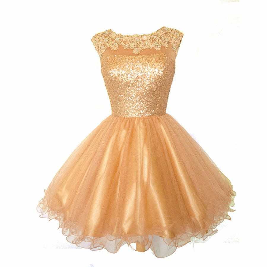 Homecoming dress cheap champagne gold mini appliques cocktail party
