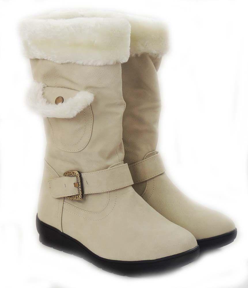 New Women Mid-Calf Fur Lined Flat Heel Winter Snow Boots COCO-03/BEIGE