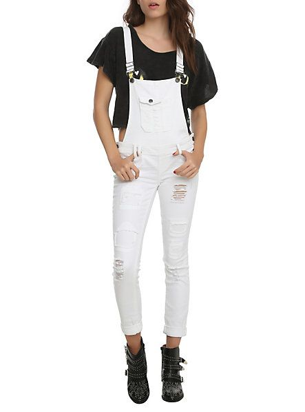 Ivory Overalls | Hot Topic