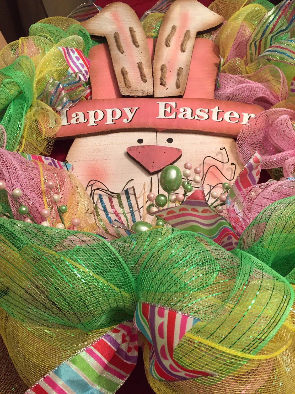 A personal favorite from my Etsy shop https://www.etsy.com/listing/265877420/happy-easter-bunny-wreath