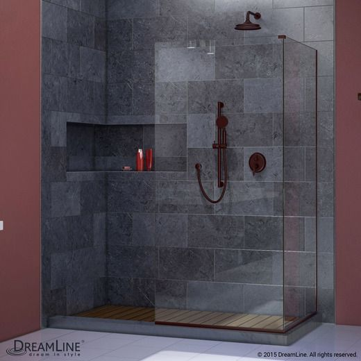 dreamline shdr 3230343 04 linea frameless shower door two attached glass panels 34 in x 72 in 30 in x 72 in brushed nickel finish - Glass Sheet Bathroom 2015