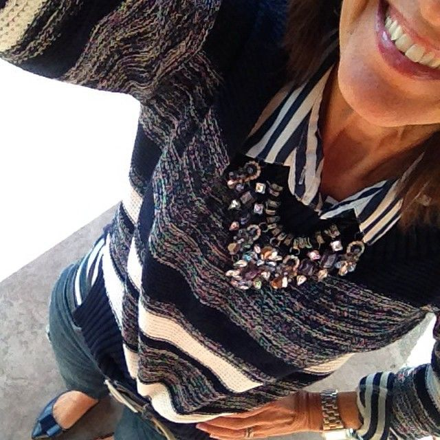 """""""It's Sunday Day 25 of my #January #WinterFashion #StyleChallenge and I just grabbed a #Stripe shirt #Sweater a fun #StatementNecklace and I'm good to go!…"""""""