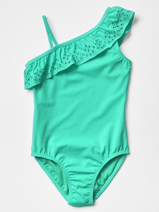 5b814361b4 Gap Kids Girl Eyelet ruffle swim Swimwear One-Piece Size XS(4-5) turquoise  NWT | eBay