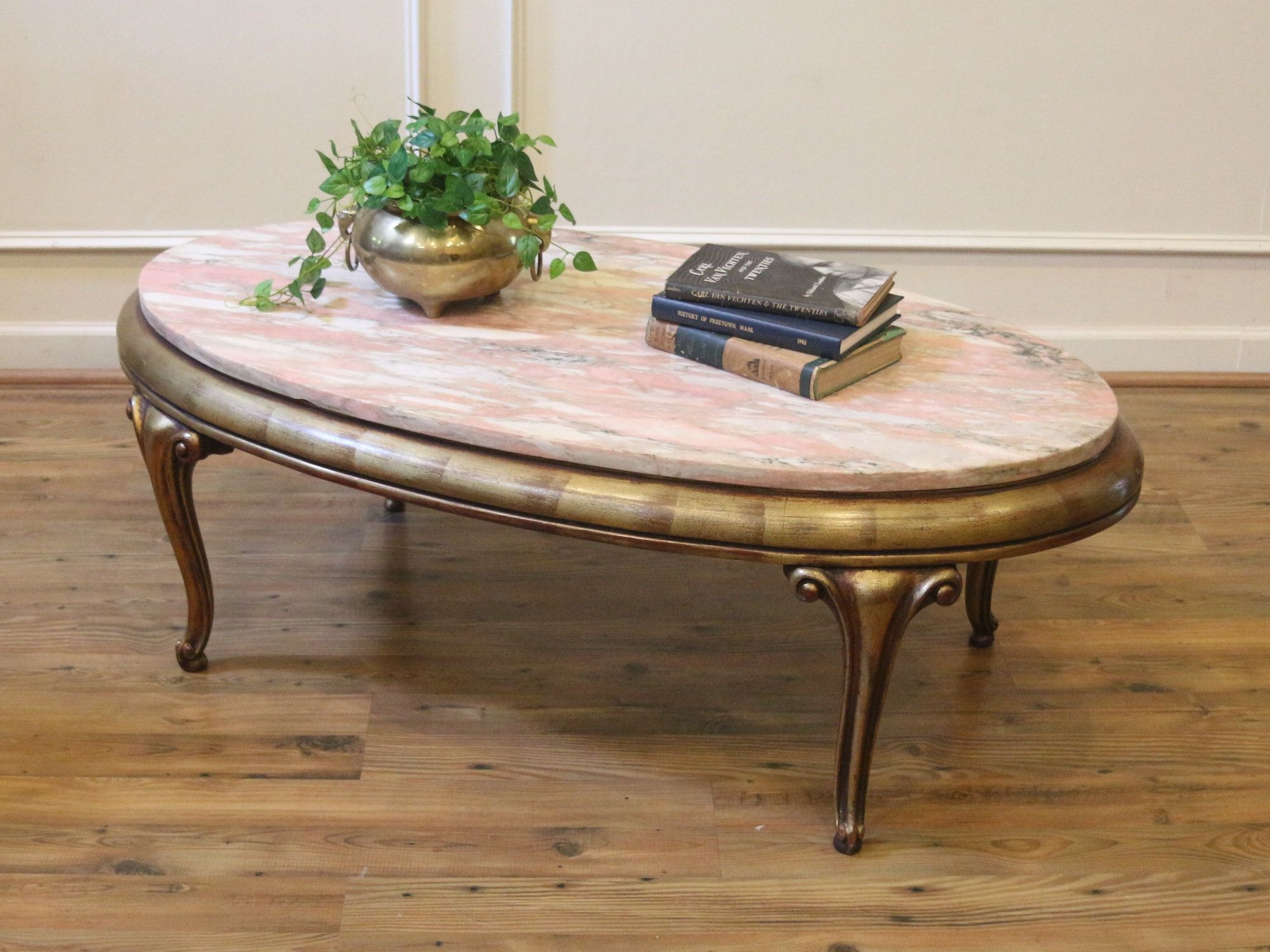 Vintage Mid Century Coffee Table Pink Marble Top Oval Shape Gold Painted Base 1940 S Holl Mid Century Coffee Table Coffee Table Swoon Editions Coffee Table