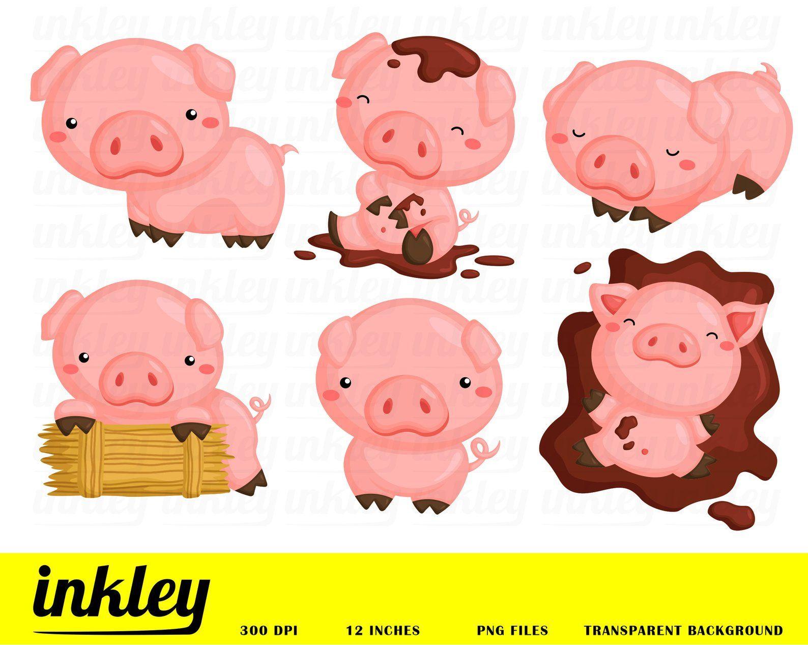 Cute Pig Clipart Cute Animal Clip Art Farm Animal Free Svg On Request Pig Clipart Pig Illustration Cute Pigs