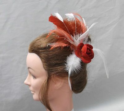 a1df6e9c2ebd3 BURNT ORANGE RUST WHITE CORAL GOLD FASCINATOR COMB - SALE!!!
