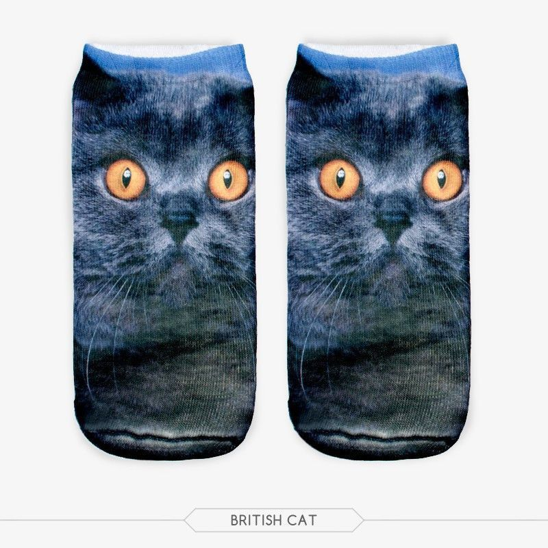 3D printing cute cat animal shapes for men and women socks socks neutral colors to choose from a variety of low-cut socks