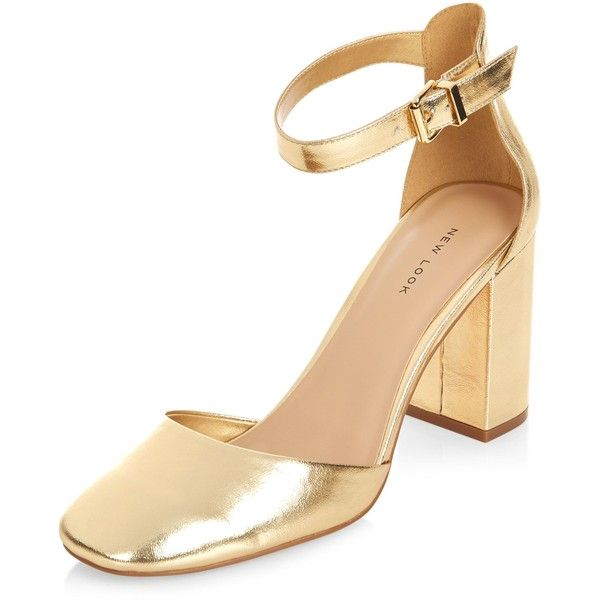 Look Shoes£25❤ Strap Ankle Gold New Court Polyvore Liked On dCxeBro
