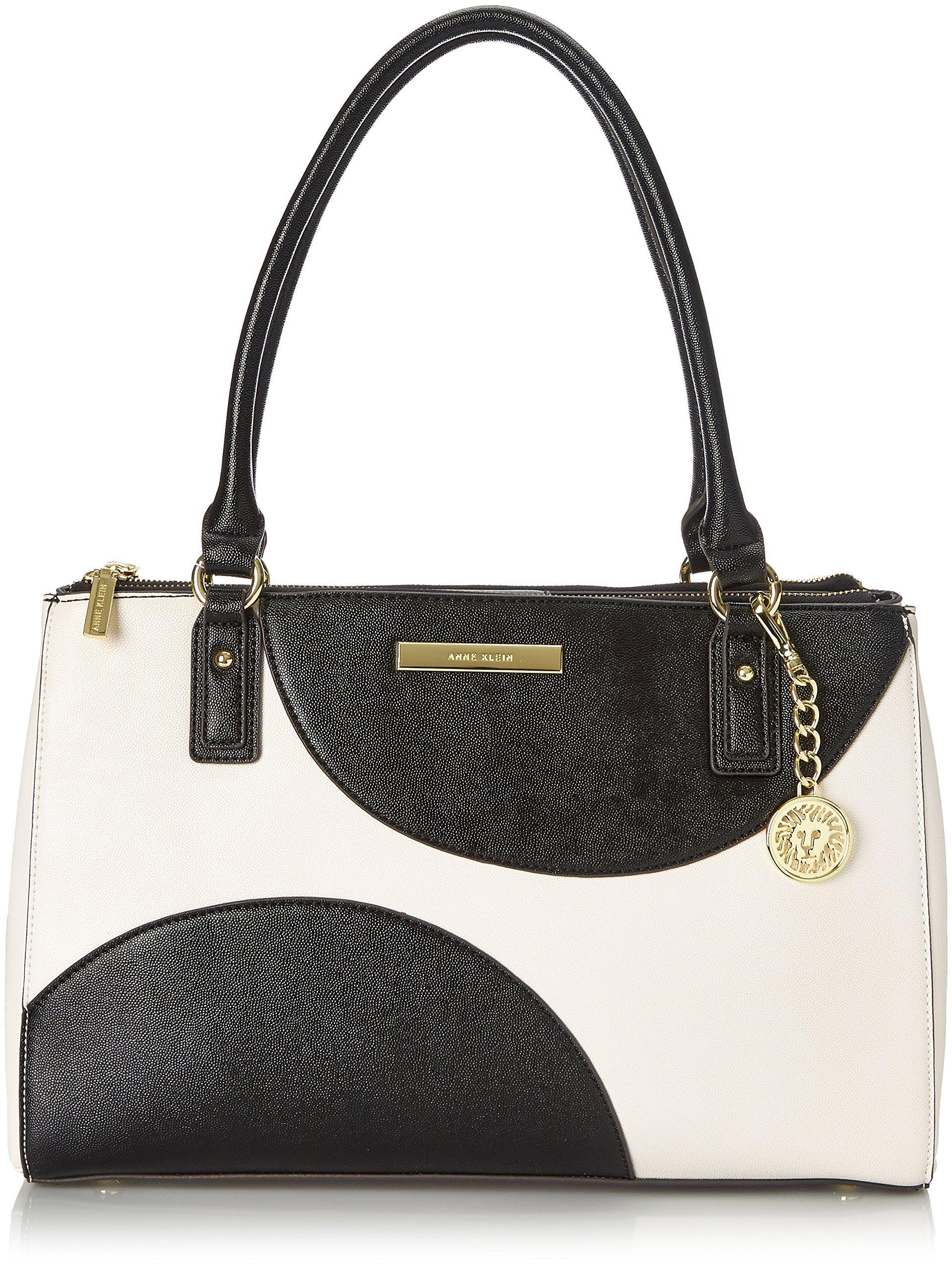 Anne Klein Shimmer Down Ii Tote Shoulder Bag White Black
