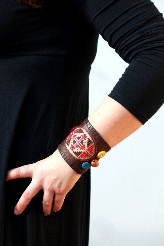 Leather bracelet, leather and hand embroidery wrist cuff, hand cuff.