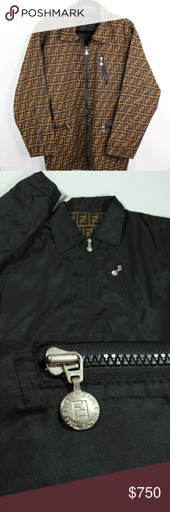 Vintage Fendi Zucca Monogram Reversible Jacket 10 Vintage Authentic Fendi Zucca Monogram Reversible Jacke Reversible Jackets Reversible Jacket Men Mens Jackets