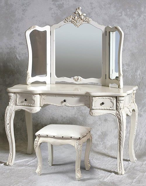 Cream Dressing Table Mirror And Stool, Vintage Style Vanity Table With Mirror