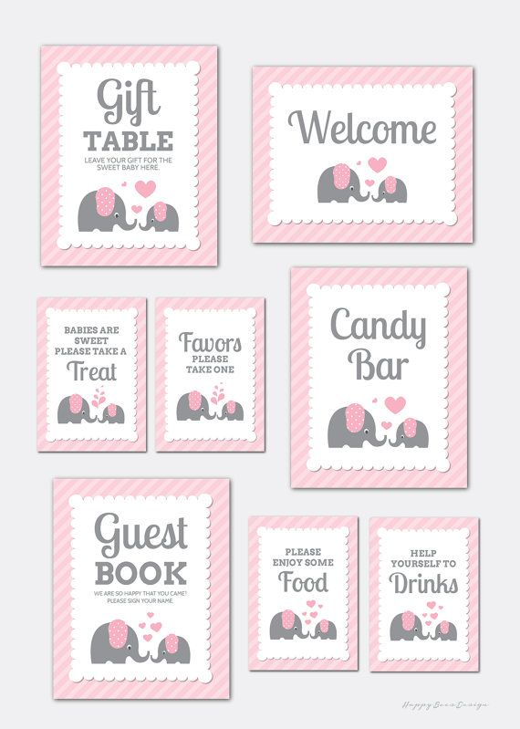 8 Baby Shower Elephant Party Signs Girl Baby Shower Party Table