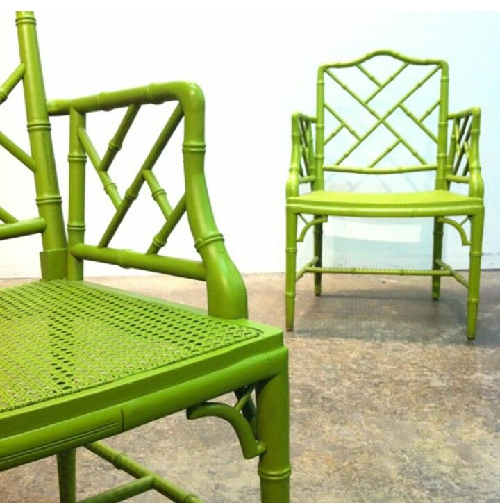 Green Chinese Chippendale Chairs Painted Dining Vintage Bamboo Faux