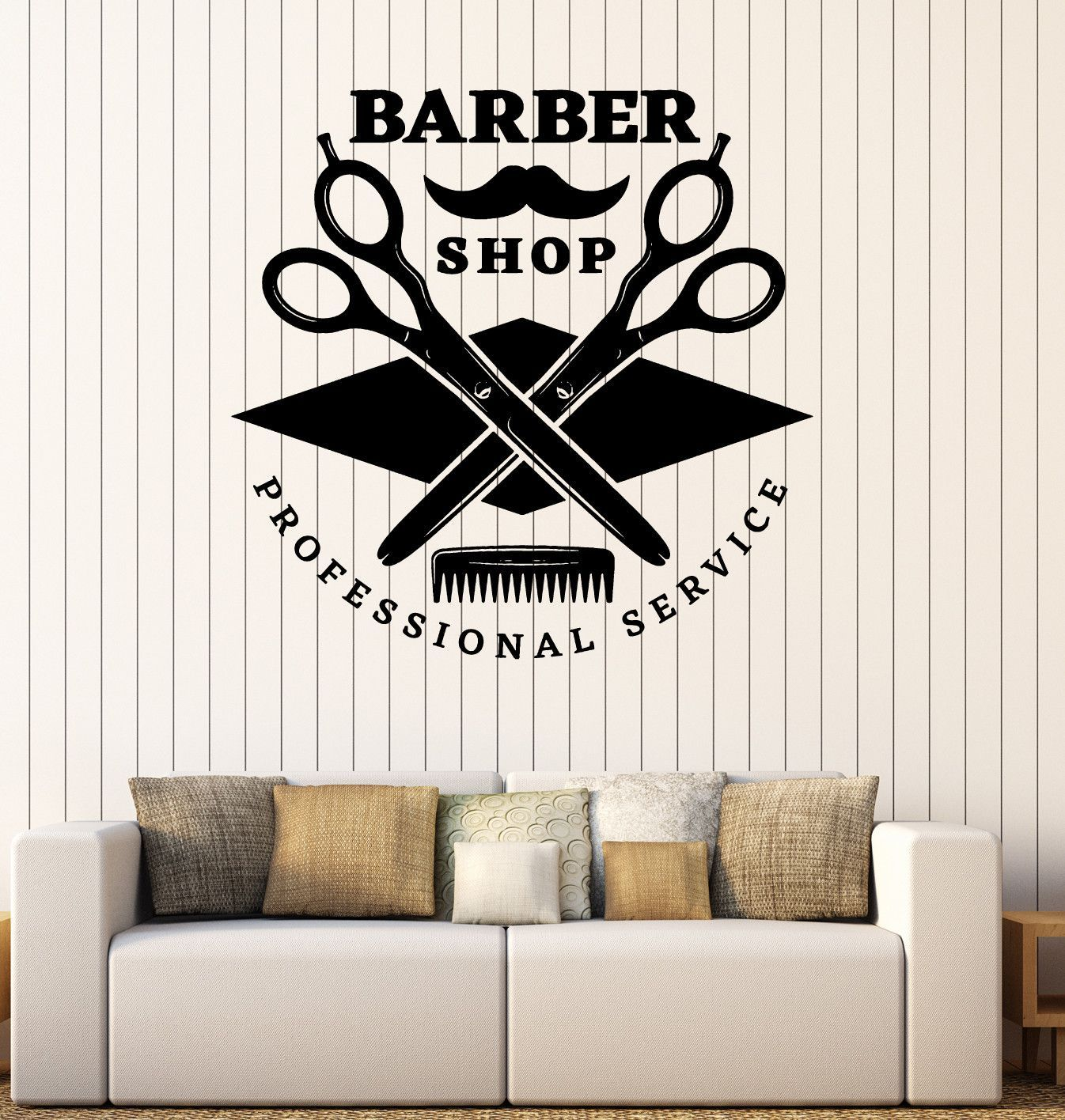 Barber shop pole distressed wall decal vintage style wall decor ebay - Wall Vinyl Decal Barber Shop Professional Service Hair Stickers Decor Z4813