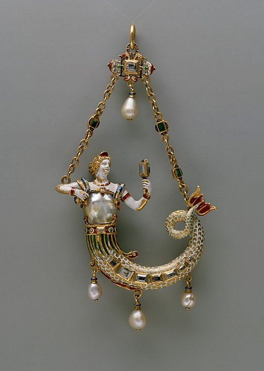 1870-95: Baroque pearl mermaid pendant
