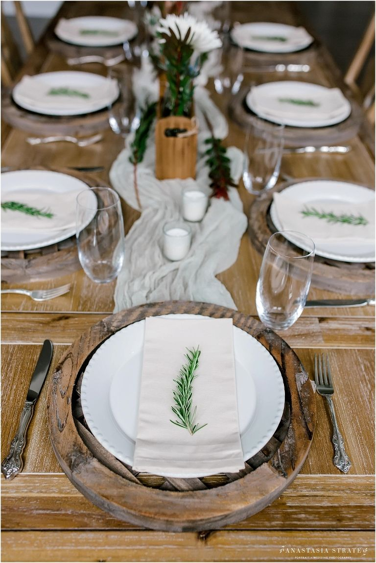 Holiday farmhouse setting Thanksgiving dinner table